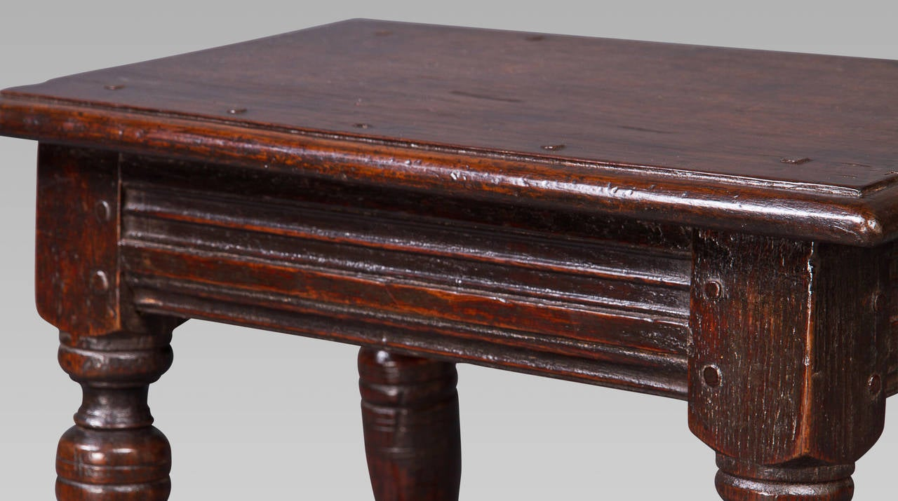English Charles I Oak Joint Stool For Sale