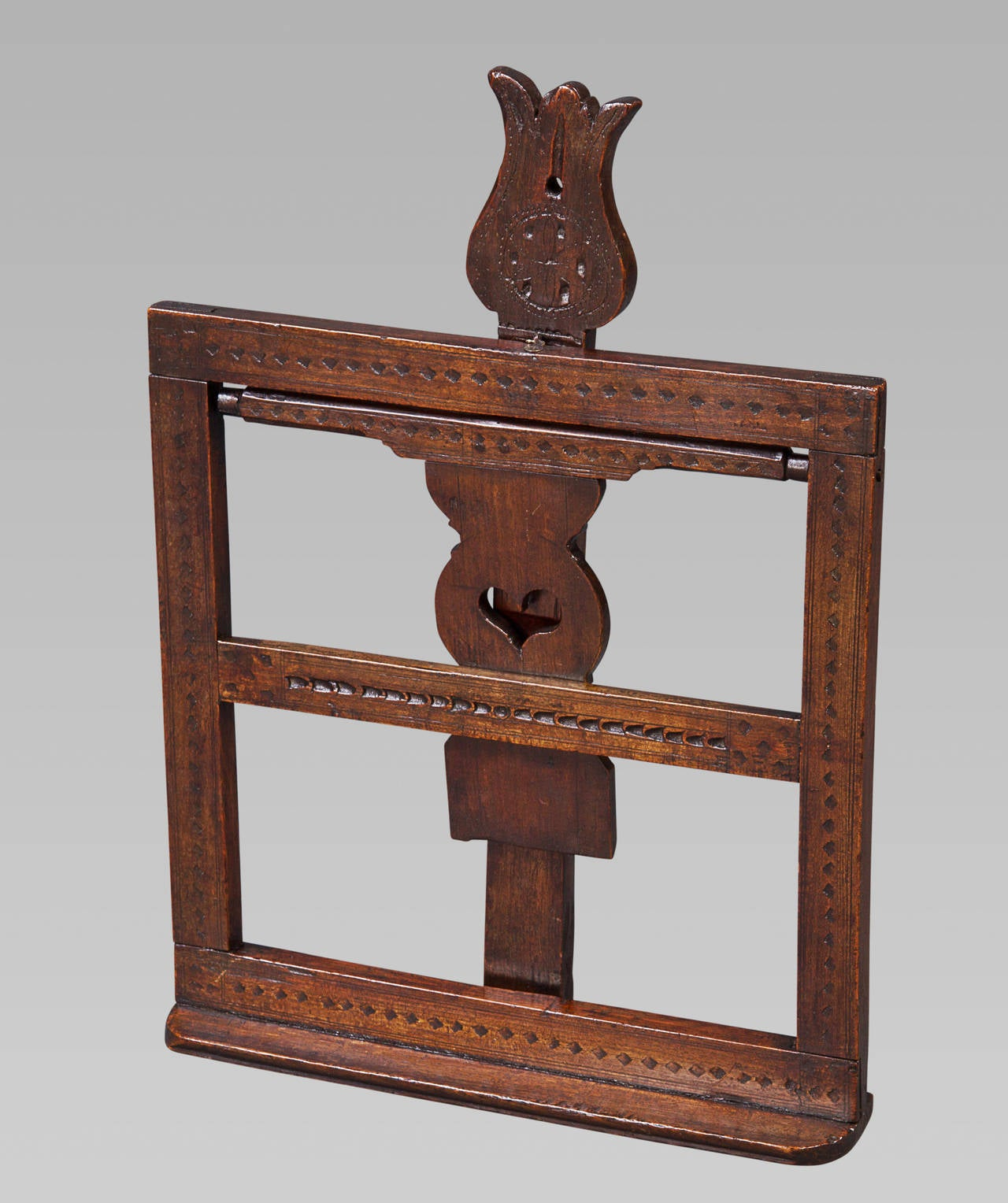 English 18th Century Fruitwood Folding Adjustable Bookrest For Sale