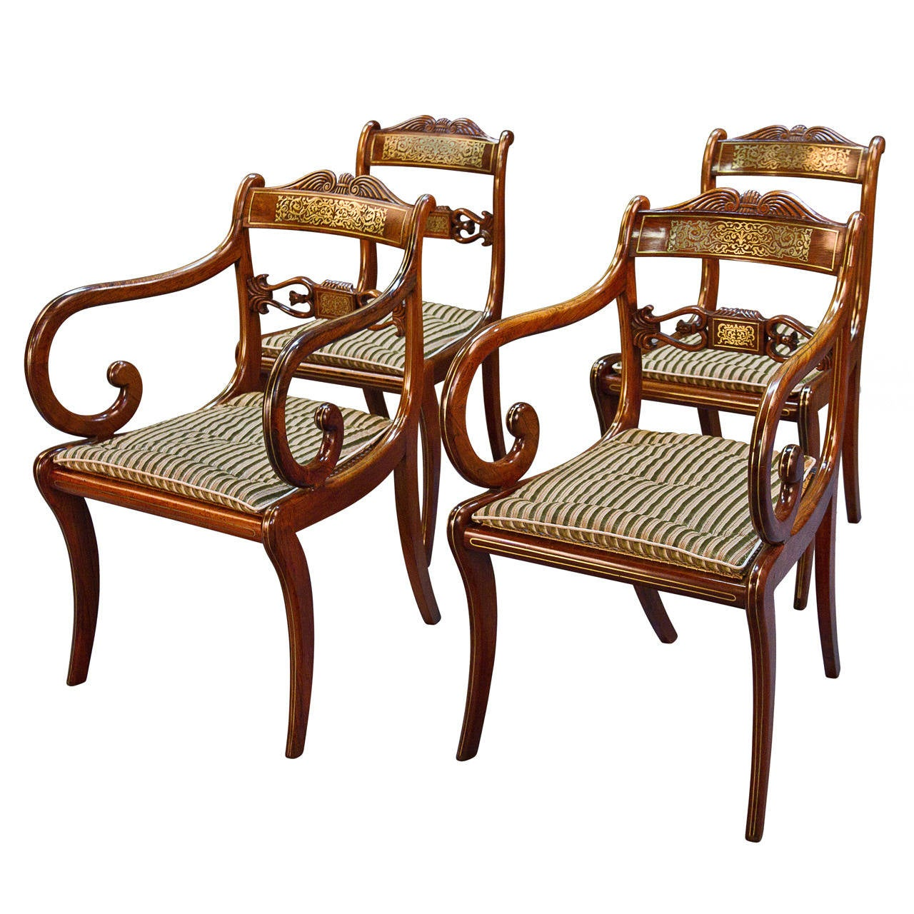 Very Rare Long Set of 16 George III Brass Inlaid Rosewood Dining Chairs 1