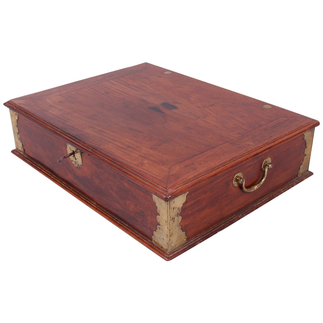 Anglo-Chinese Padouk and Brass Mounted Scholar's Writing Box For Sale