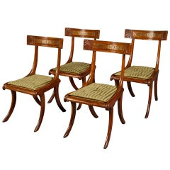 Set of Four Regency Faux Rosewood Klismos Chairs after Thomas Hope