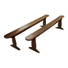 A Good Pair of 18th Century Elm Trestle Benches