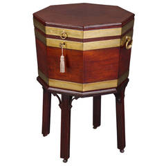 Fine 18th Century Mahogany and Brass Bound Octagonal Cellaret on Stand