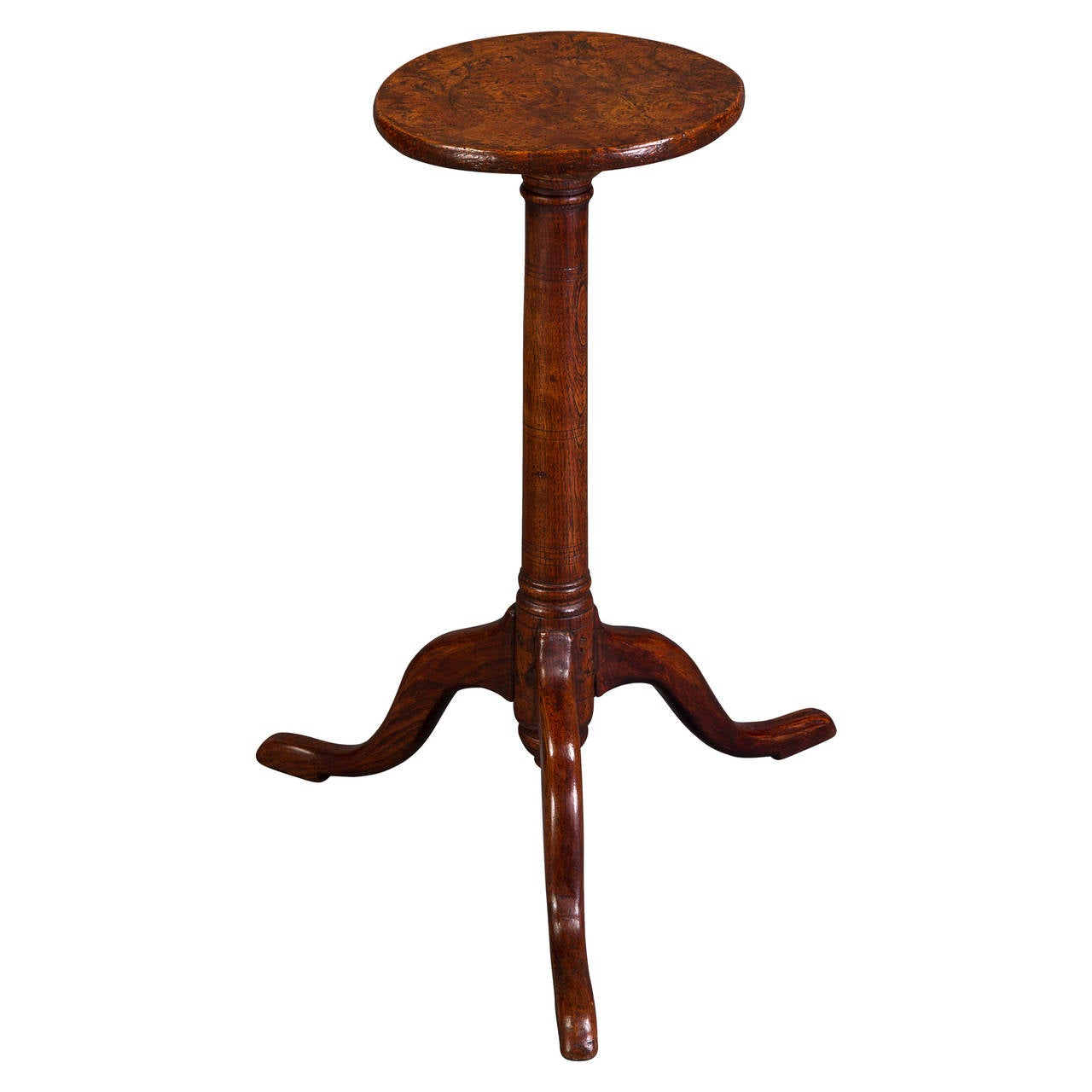 Attractive 19th Century Solid Elm Candle Stand 1
