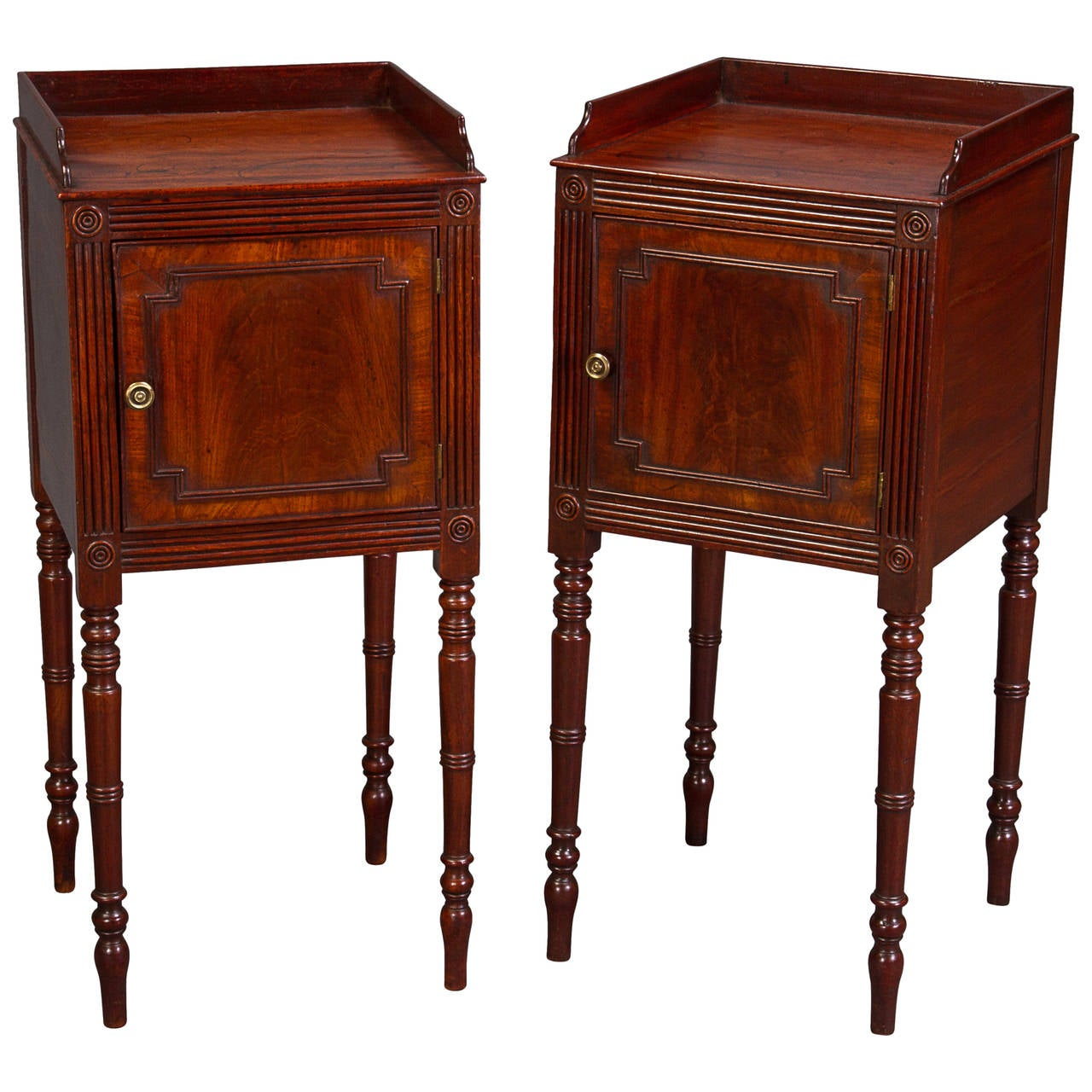 Pair of George III Bedside Cupboards For Sale