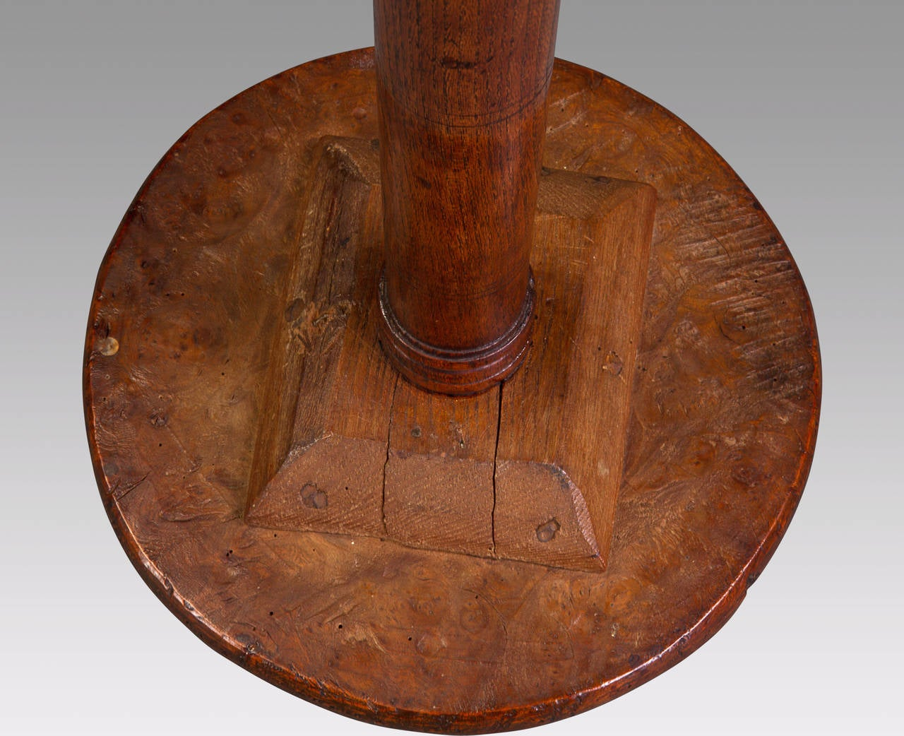 Attractive 19th Century Solid Elm Candle Stand 4