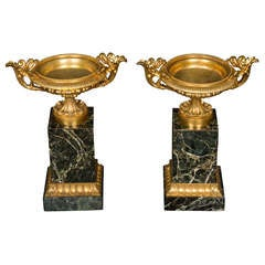 Pair of Regency Period Ormolu and Marble Tazza