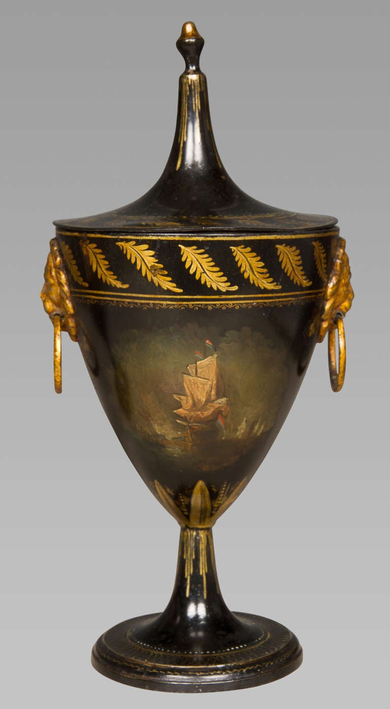 Good Pair of Regency Tole Work Chestnut Urns In Excellent Condition For Sale In New York, NY