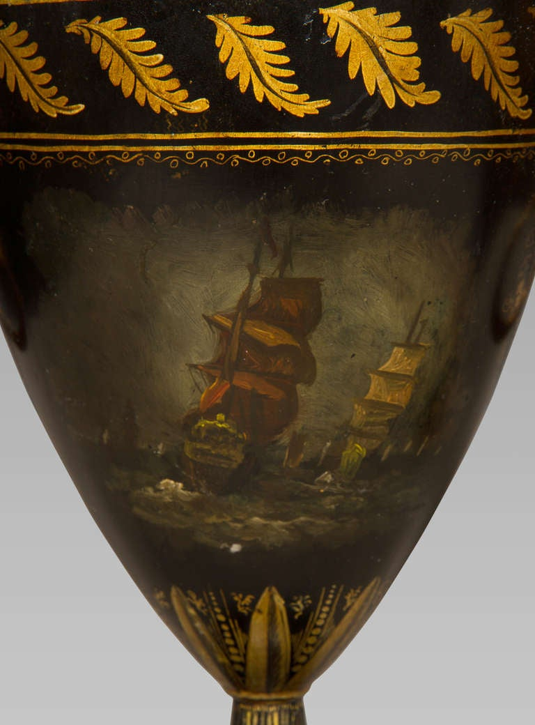 19th Century Good Pair of Regency Tole Work Chestnut Urns For Sale