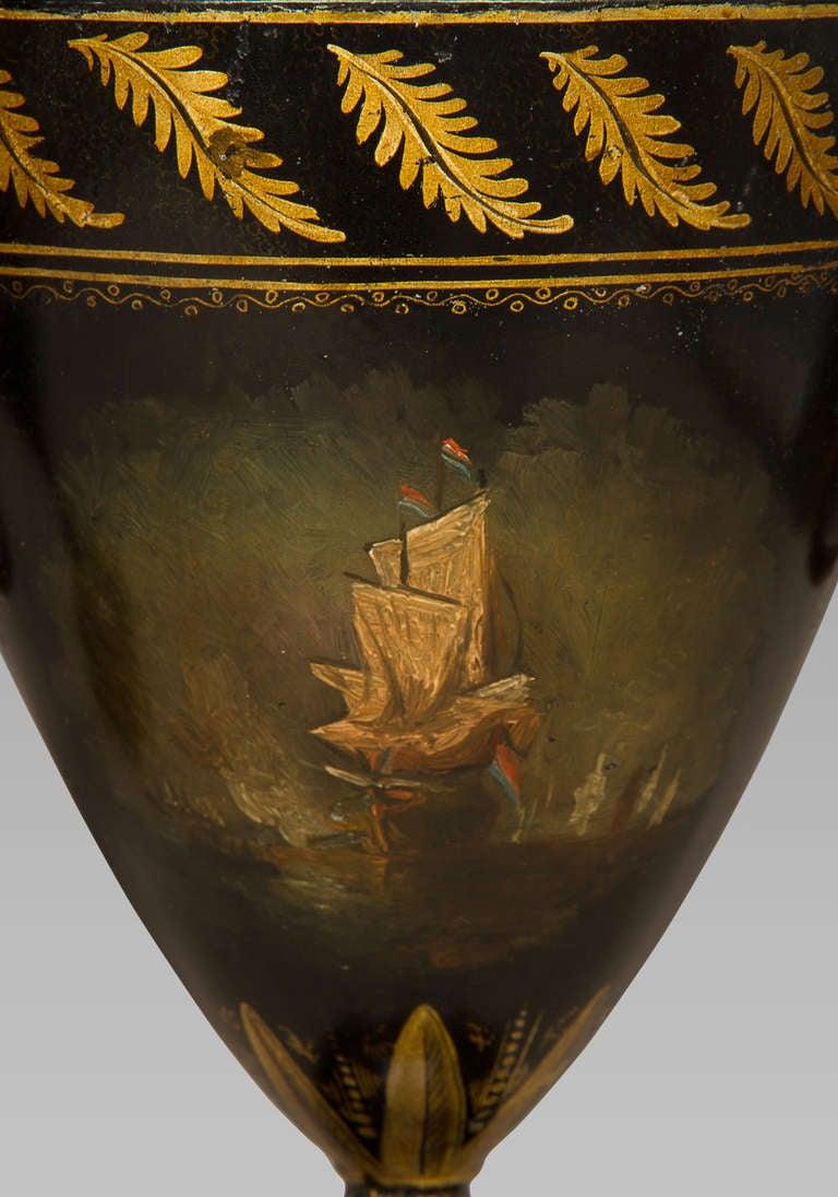 Tin Good Pair of Regency Tole Work Chestnut Urns For Sale