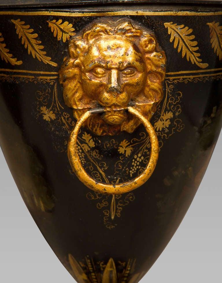 Good Pair of Regency Tole Work Chestnut Urns For Sale 1