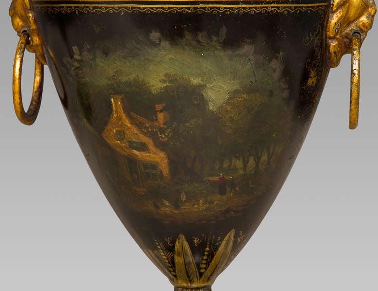 Good Pair of Regency Tole Work Chestnut Urns For Sale 2