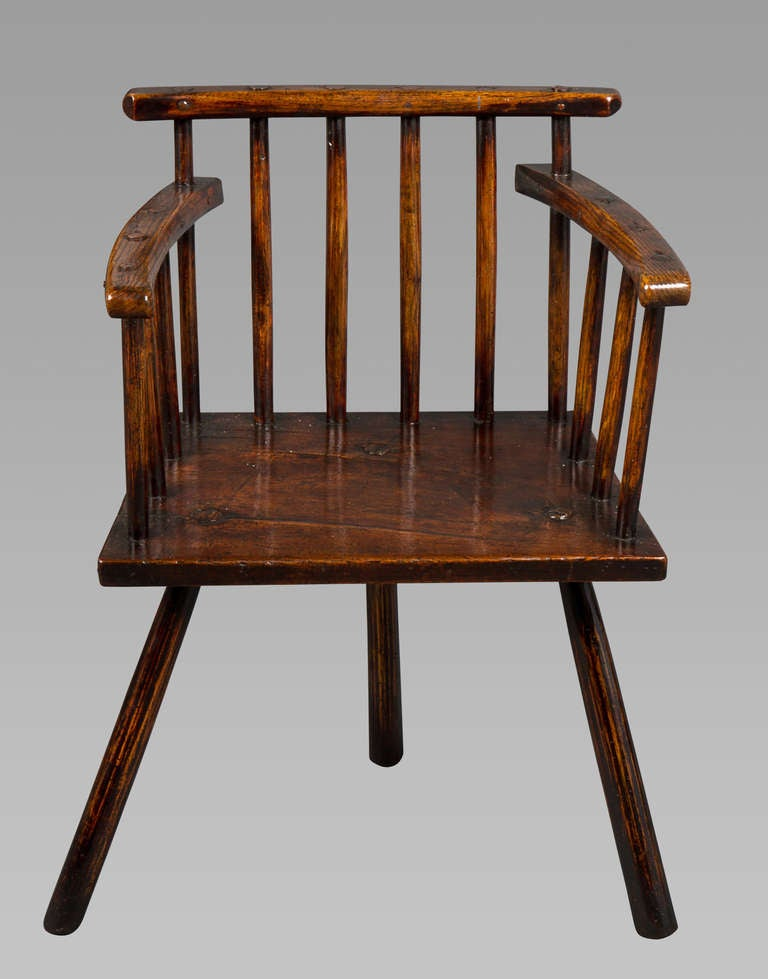 Good George III Welsh Primitive Comb Back Chair 3