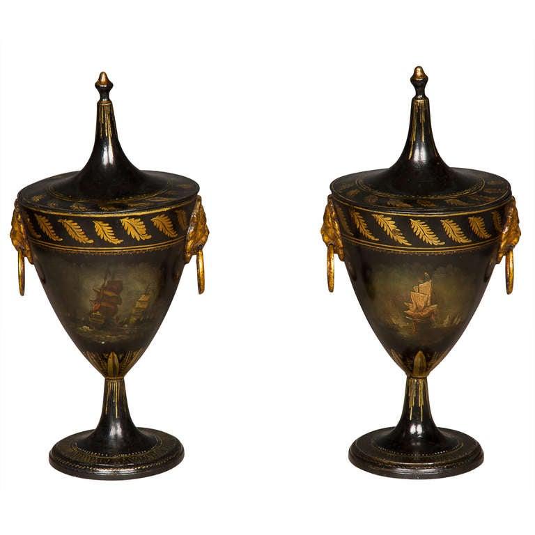 Good Pair of Regency Tole Work Chestnut Urns For Sale