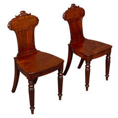 Good Pair of Regency Mahogany Hall Chairs