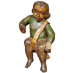 Delightful 17th Century Spanish Polychrome Carving of a Child