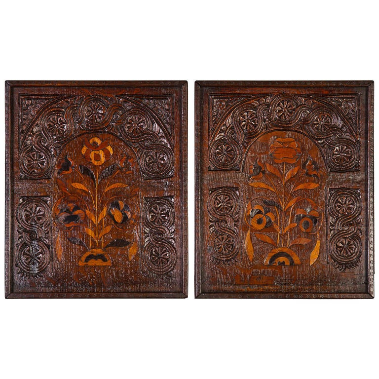 Pair of 17th Century Oak and Marquetry Panels