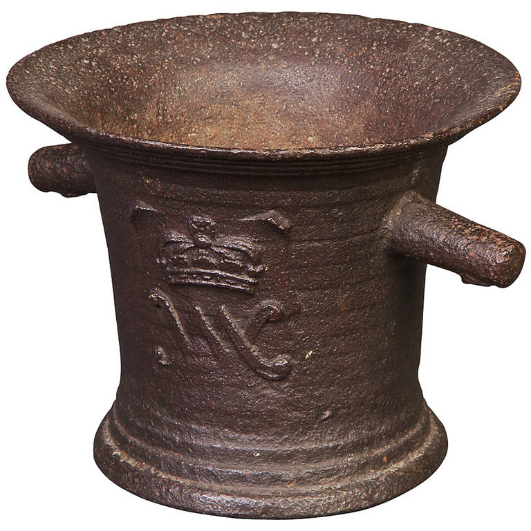 Fine and Large 17th Century Iron Mortar For Sale