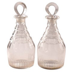 Fine Pair George III Cut Glass Decanters