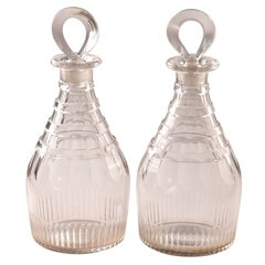 Fine Pair of George III Cut-Glass Decanters