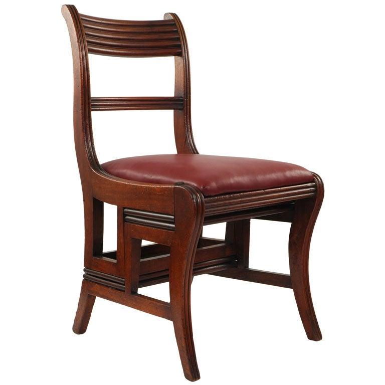 Regency Walnut Metamorphic Library Side Chair