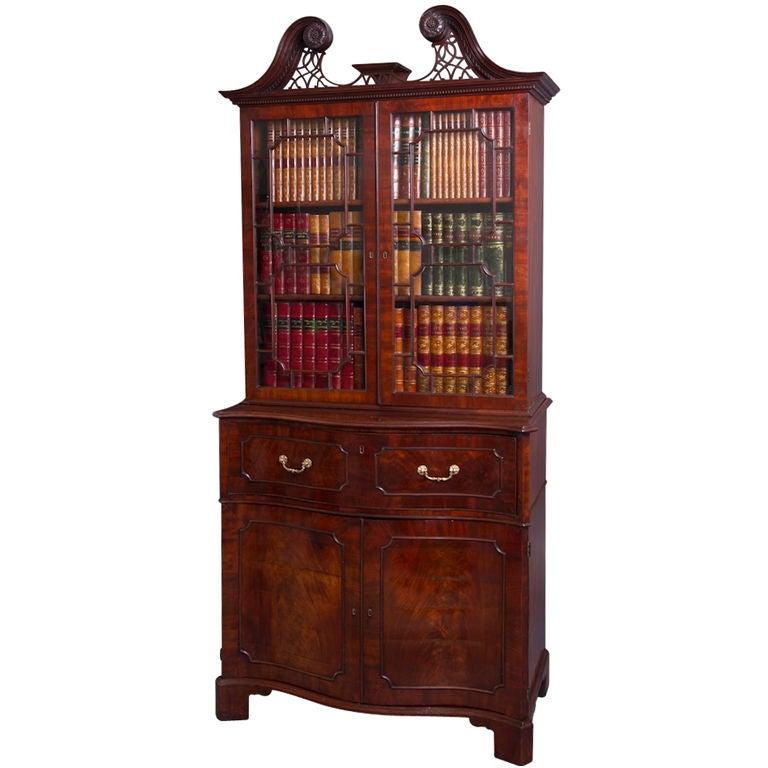 Norfolk House George II Mahogany Secretaire Bookcase