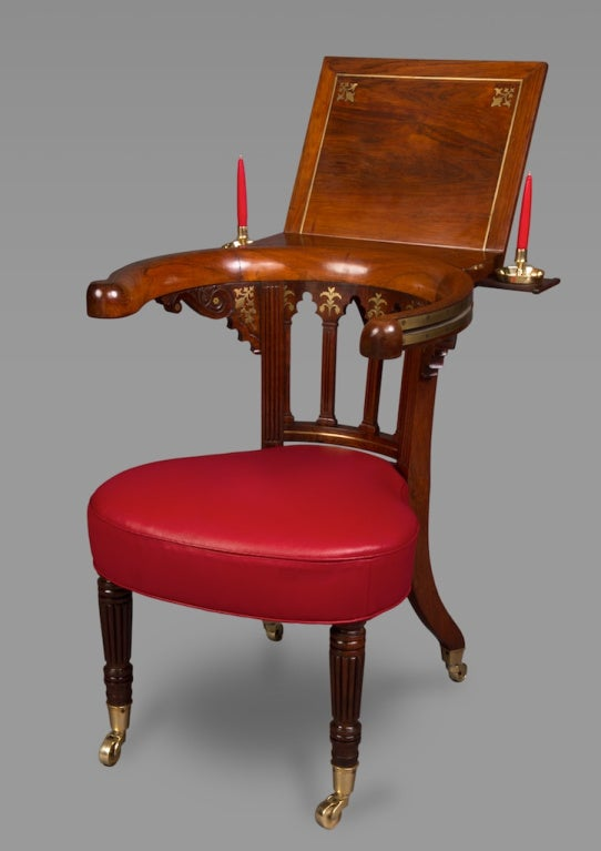 Attributed to Gillows. Stamped to the seat rail 'GW' possibly for George Wilson, a journeyman recorded as working for Gillows 1802-1804. This chair is of extraordinary quality and is thought to pre-date similar Morgan and Sanders examples by at
