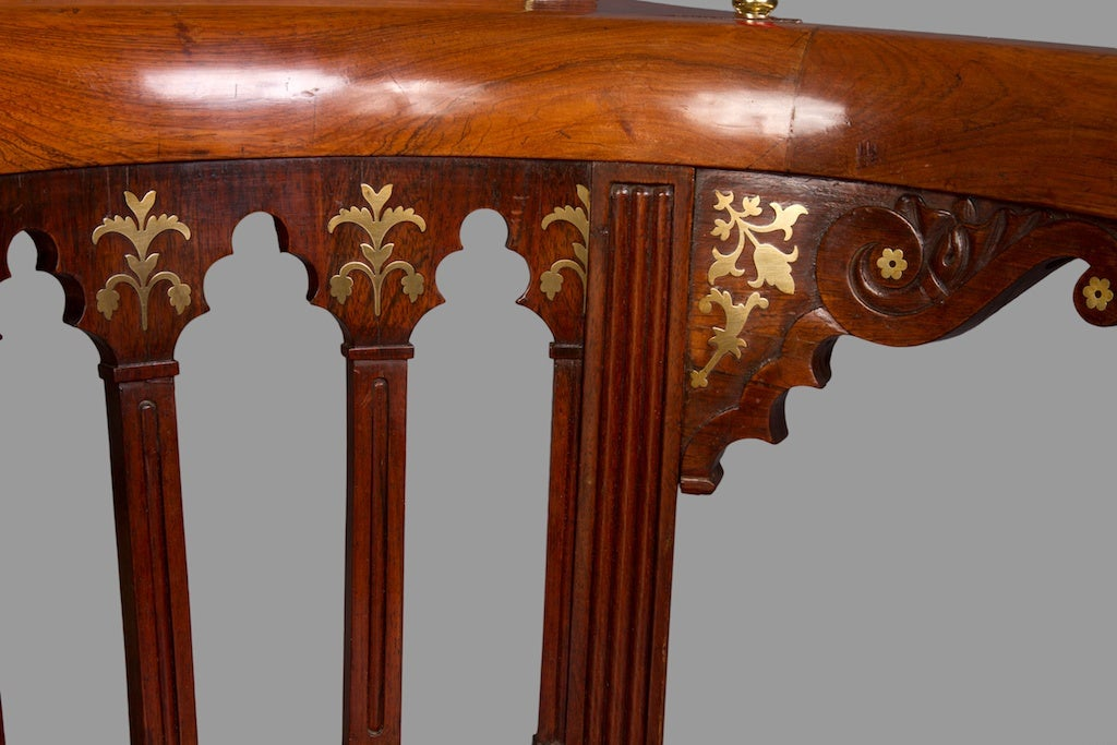 20th Century Very Fine Goncalo Alves and Brass Inlaid Regency Library Reading Chair For Sale