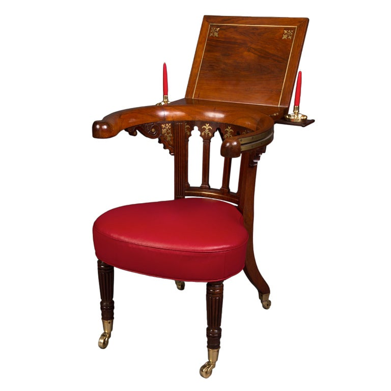Very Fine Goncalo Alves and Brass Inlaid Regency Library Reading Chair For Sale