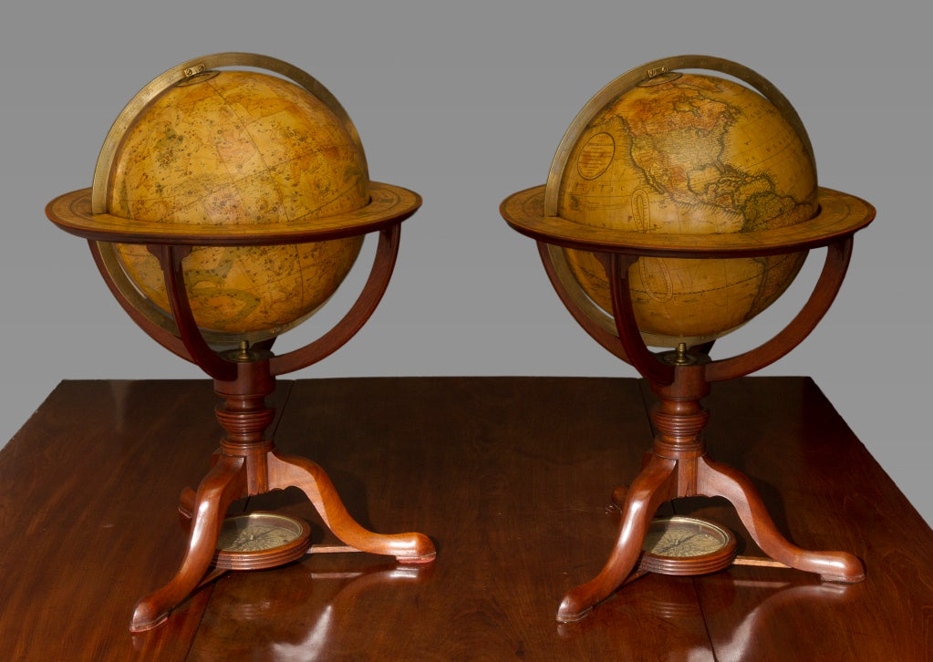 English Pair of George III Terrestrial and Celestial Table Globes For Sale