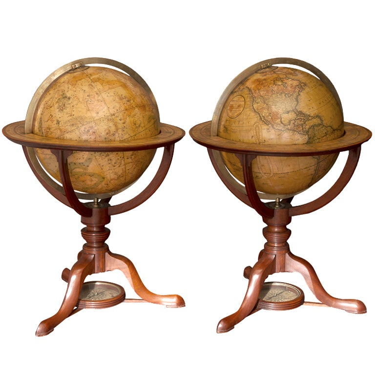 Pair of George III Terrestrial and Celestial Table Globes For Sale