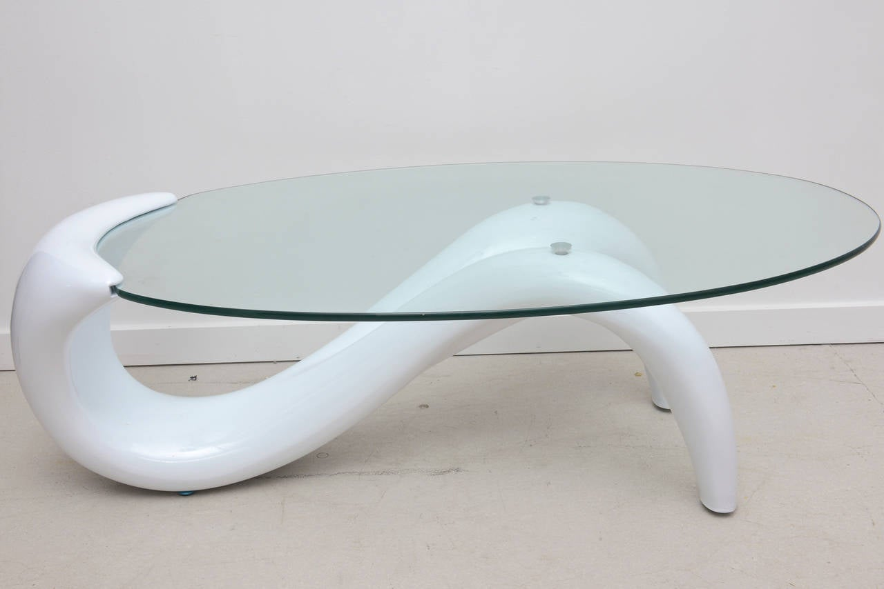 Chic, Late 20th Century Minimalist Coffee Table with Oval Glass Top ...