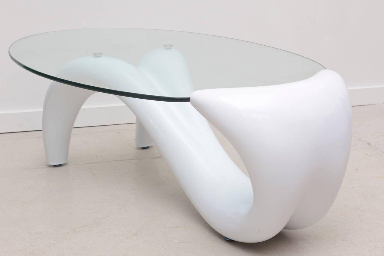 Chic Late 20th Century Minimalist Coffee Table With Oval Glass Top For Sale At 1stdibs