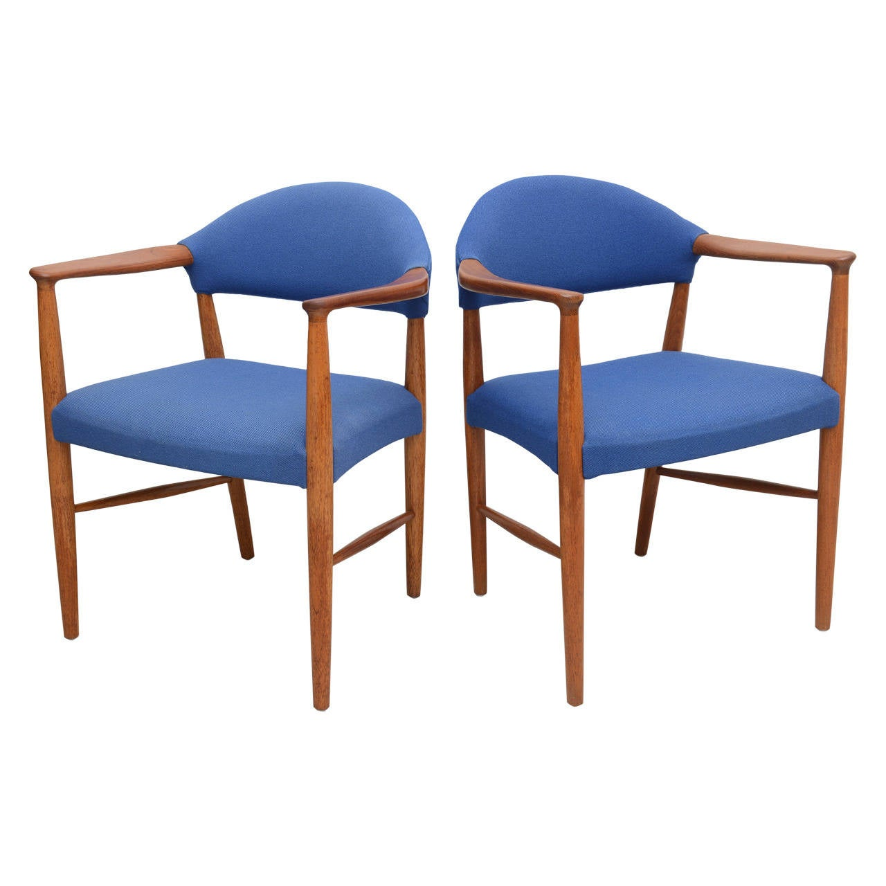 Pair Of Danish Modern Mid Century Teak And Oak Armchairs For Sale At 1stdibs