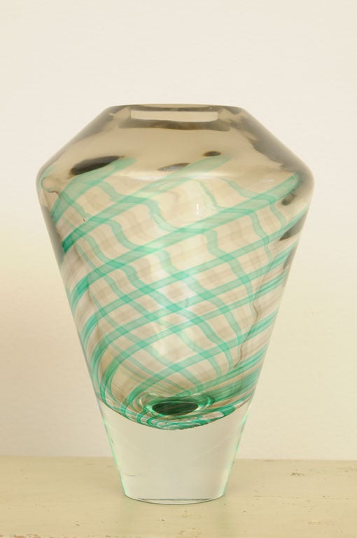 Italian Early 20th Century Pair of Murano Glass Vases Signed Salviati For Sale