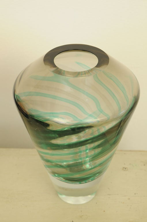 Mid-20th Century Early 20th Century Pair of Murano Glass Vases Signed Salviati For Sale