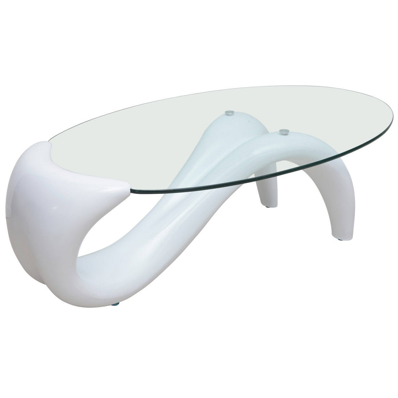 Chic late 20th century minimalist coffee table with oval for Oval glass coffee table