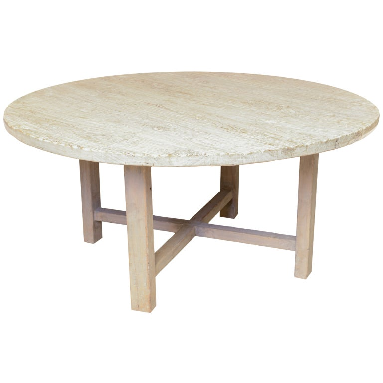 19th Century Antique Organic Round Dining Table In Poplar