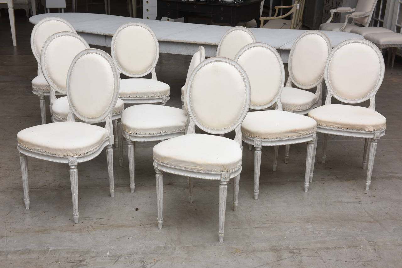 Set of Ten 19th Century Antique Swedish Gustavian Dining Chairs 2
