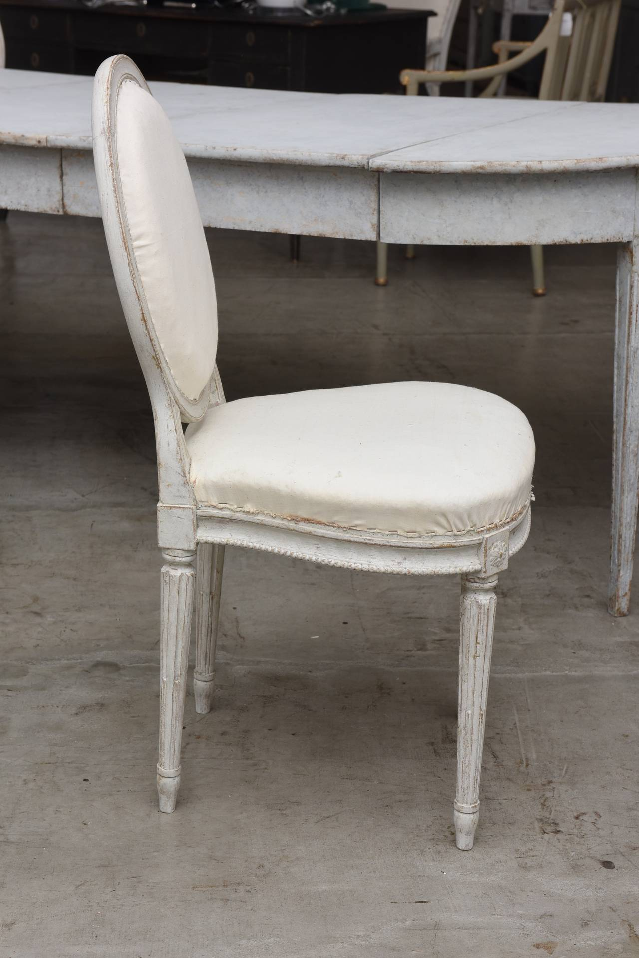 Set of Ten 19th Century Antique Swedish Gustavian Dining Chairs 3