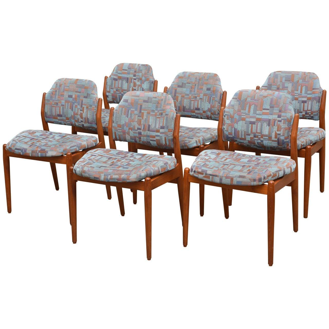 Set of Six Teak Danish Modern Dining Chairs by Arne Vodder