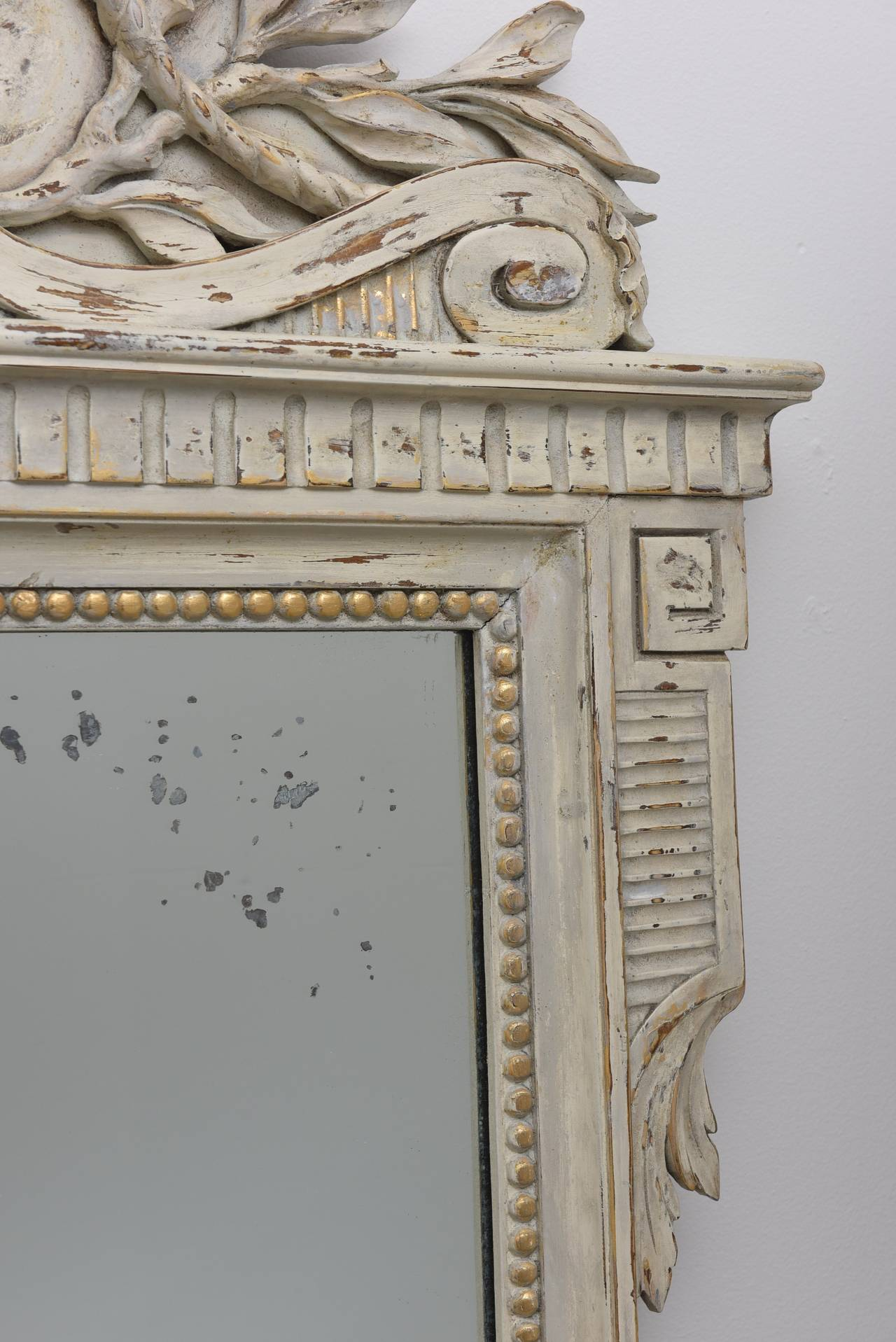 Antique Painted Gustavian Style Mirror At 1stdibs