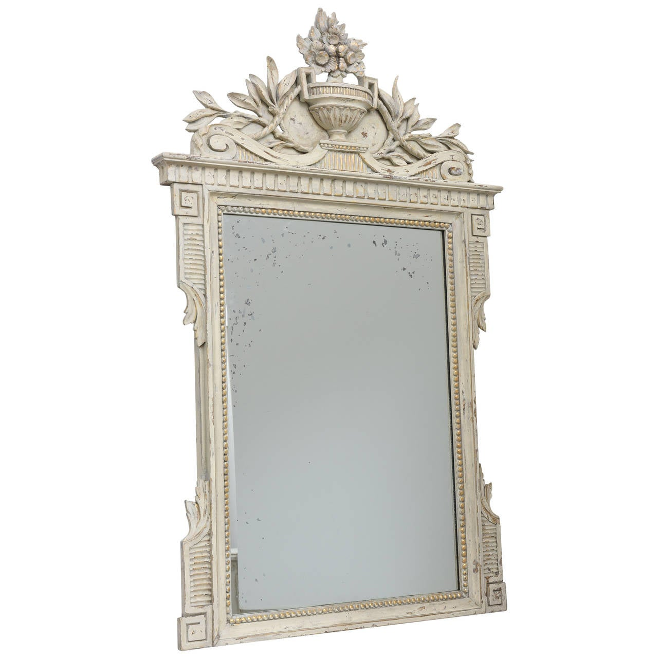 Antique painted gustavian style mirror at 1stdibs for Old style mirror