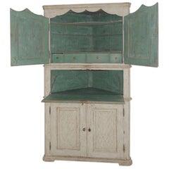 18th Century Scandinavian Danish Painted Secretaire or Corner Cabinet