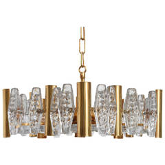 Vintage 1960s Carl Fagerlund Pendant Lamp with Large Prisms of Glass