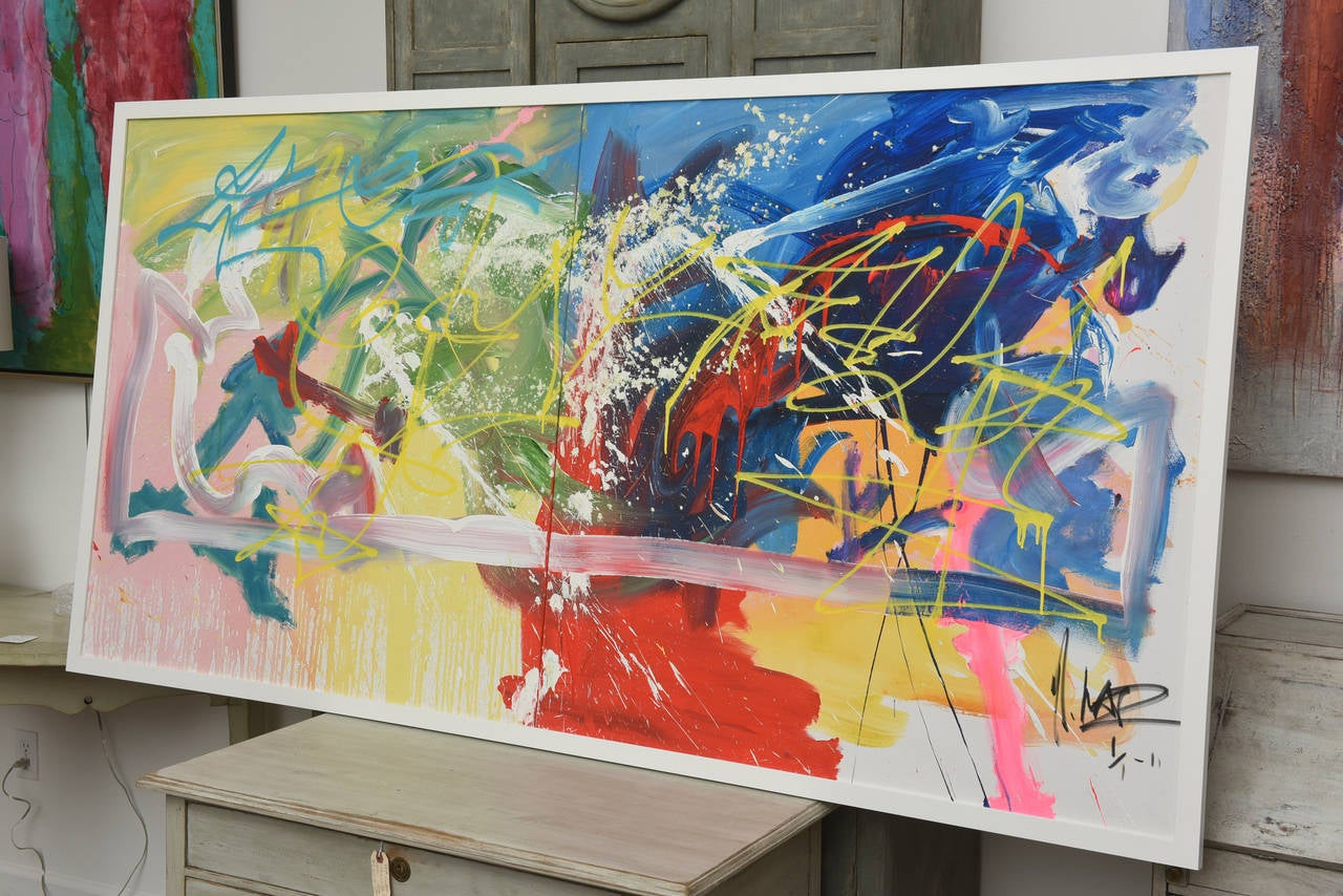 Framed Composition By Artist Michael Kadaz Acrylic On Canvas 2011 Signed A Very Large