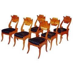 Set of Six Exemplary Russian Biedermeier Chairs