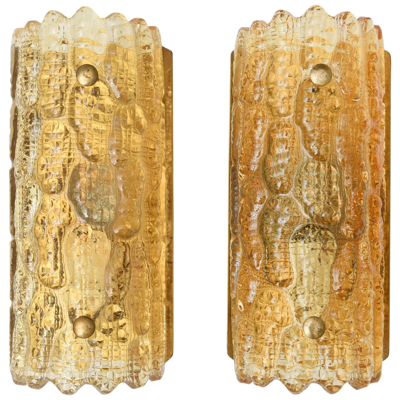 Carl Fagerlund for Orrefors Pair of Amber Glass Wall Sconces  Circa 1960s