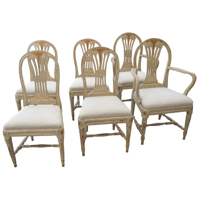 set of six scandinavian swedish painted dining room chairs at 1stdibs