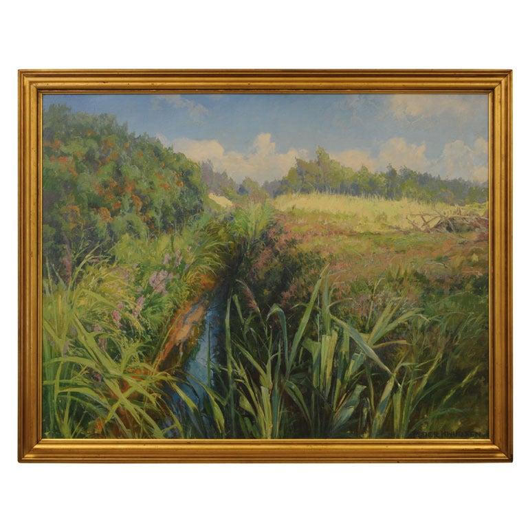 Scandinavian Danish Landscape Painting by Peder Knudsen 1